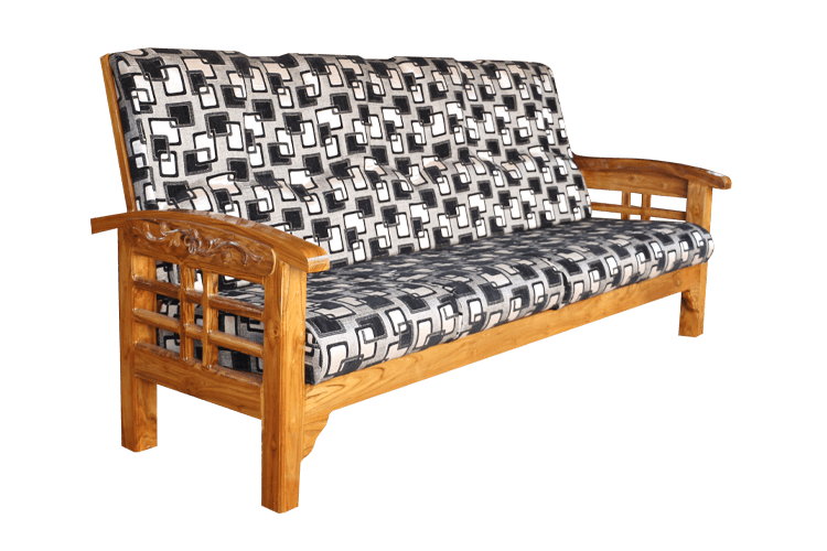 Teak Wood Carved Sofa With Back Rest And Cushion. Teak Wood Carved Sofa  With Back Rest And Cushion